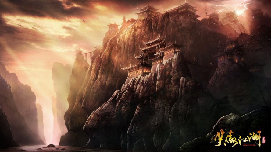 SWORDSMAN ONLINE fantasy mmo rpg action fighting martial kung 1sworo wuxia hero heroes warrior samurai asian poster castle wallpaper