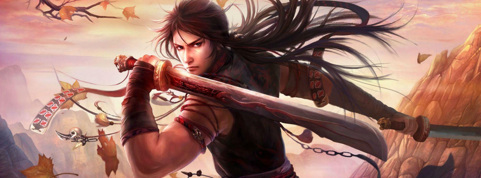 SWORDSMAN ONLINE fantasy mmo rpg action fighting martial kung 1sworo wuxia hero heroes warrior samurai asian poster wallpaper