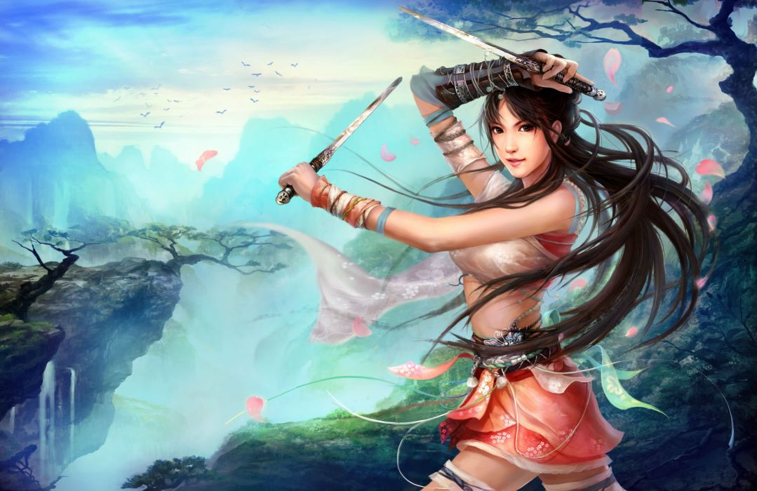 SWORDSMAN ONLINE fantasy mmo rpg action fighting martial kung 1sworo wuxia hero heroes warrior samurai asian poster girl girls wallpaper