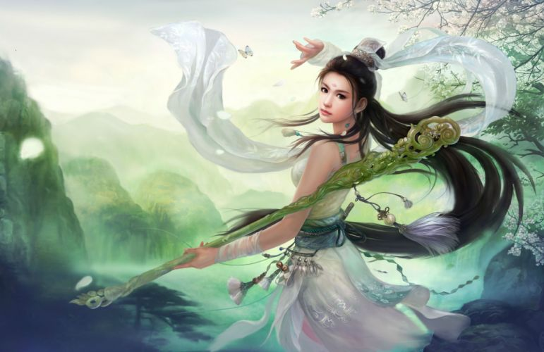 SWORDSMAN ONLINE fantasy mmo rpg action fighting martial kung 1sworo wuxia hero heroes warrior samurai asian poster girl girls wallpaper