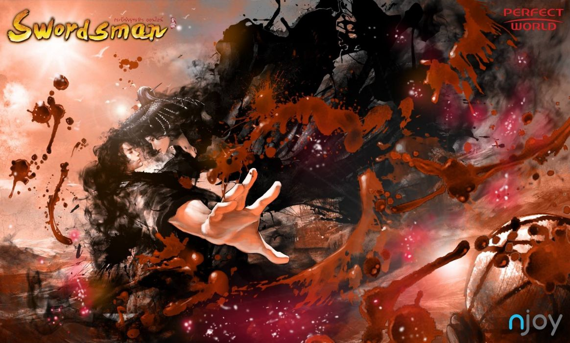 SWORDSMAN ONLINE fantasy mmo rpg action fighting martial kung 1sworo wuxia hero heroes warrior samurai asian poster blood wallpaper