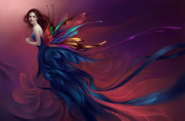 girl painting fantasy wings color dress butterfly smile wallpaper