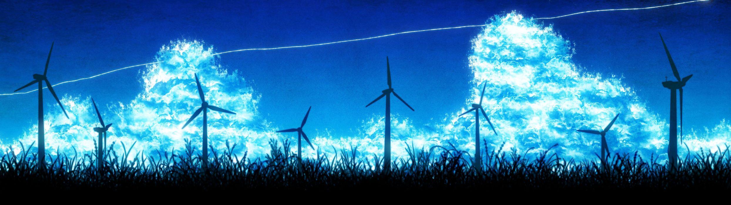 anime scan sky cloud summer grass landscape wallpaper