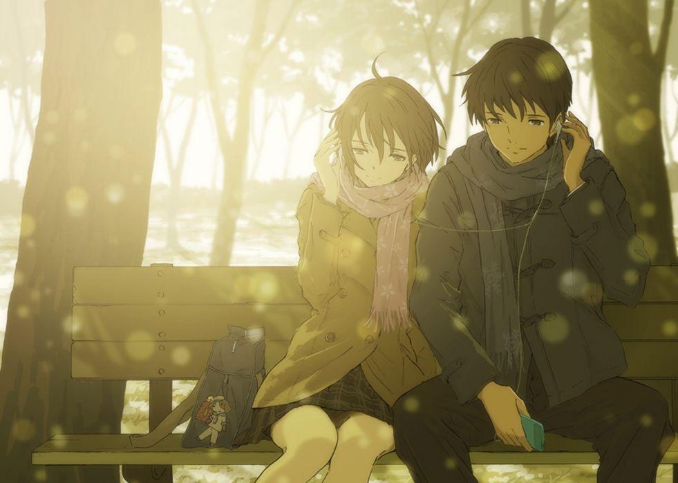 Anime Love Couple Music Headphone Tree Winter Sunshine Romantic Wallpaper