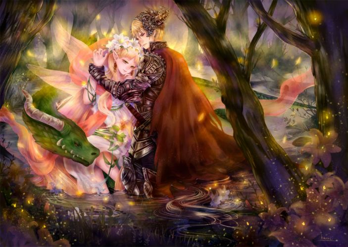 love fairy anime fantasy tree forest magic wings flower wallpaper