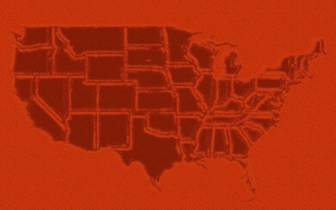 US USA america map orange wallpaper