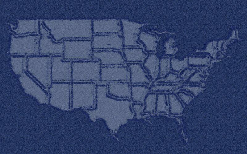 US USA america map blue wallpaper