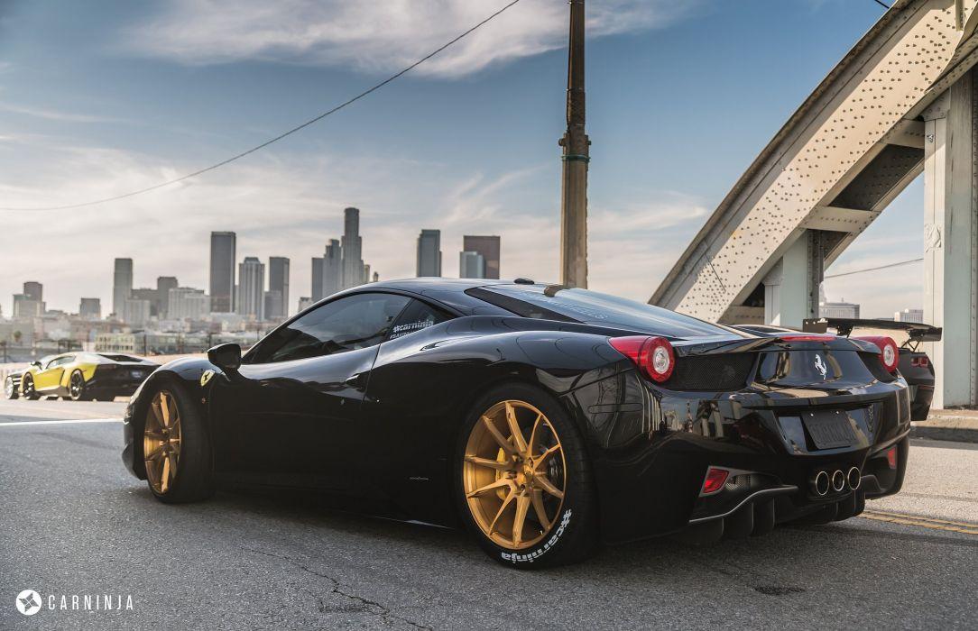 Ferrari 458 Italia coupe cars black wallpaper