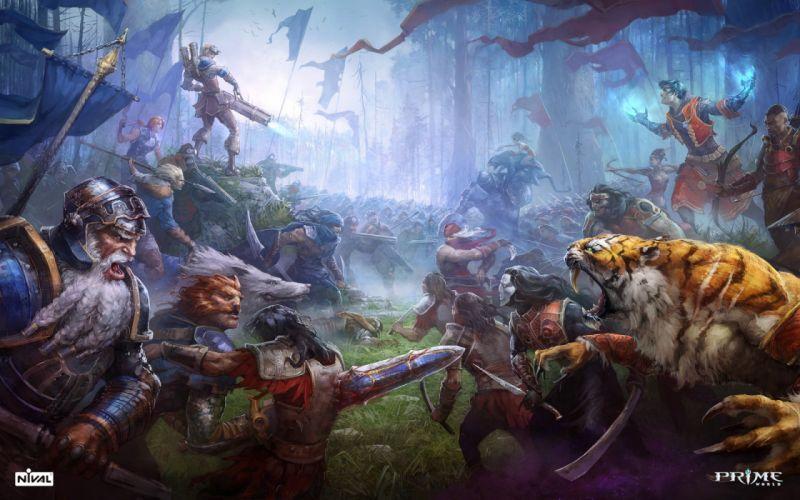 PRIME WORLD fantasy mmo rpg online action fighting adventure arena tower defense strategy 1primew warrior sci-fi poster battle tiger artwork wallpaper