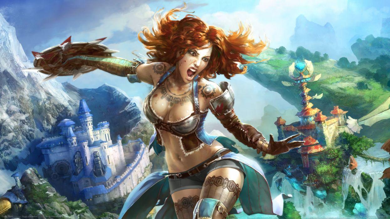 PRIME WORLD fantasy mmo rpg online action fighting adventure arena tower defense strategy 1primew warrior sci-fi poster artwork girl girls wallpaper