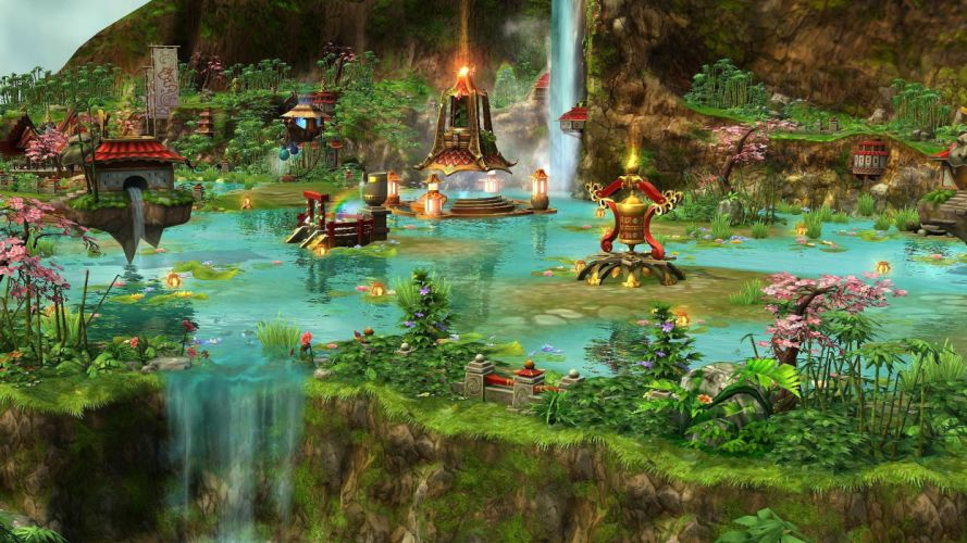 PRIME WORLD fantasy mmo rpg online action fighting adventure arena tower defense strategy 1primew warrior sci-fi poster waterfall castle wallpaper