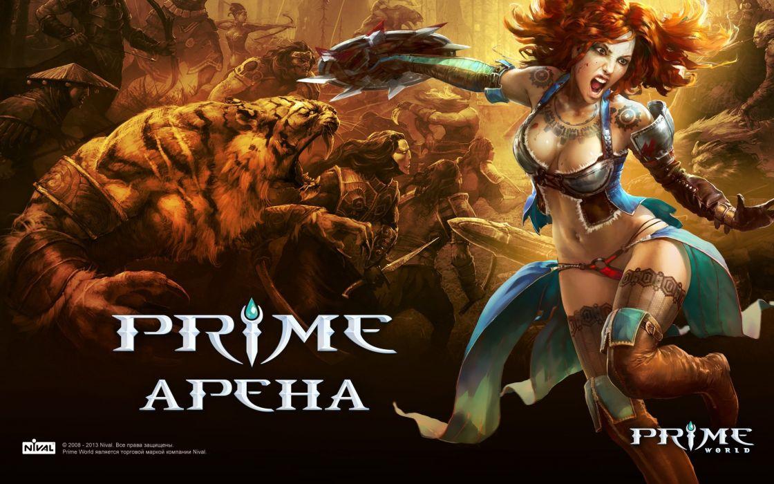 PRIME WORLD fantasy mmo rpg online action fighting adventure arena tower defense strategy 1primew warrior sci-fi poster girl girls wallpaper