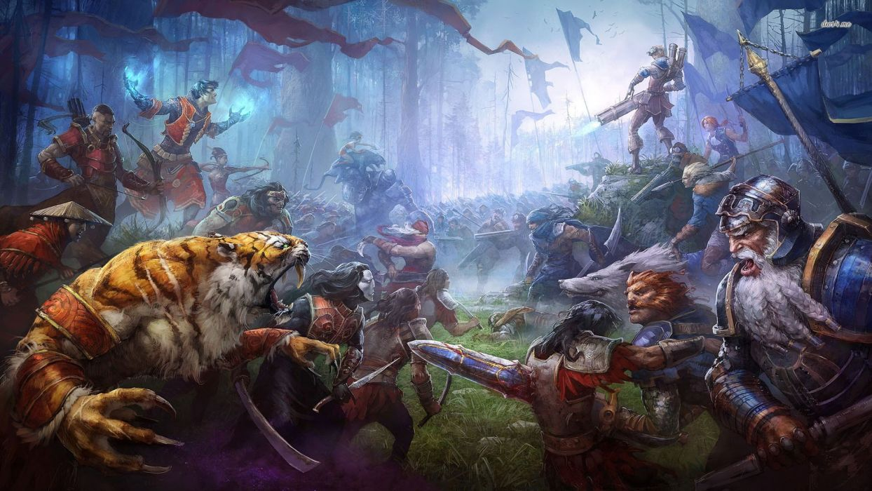 PRIME WORLD fantasy mmo rpg online action fighting adventure arena tower defense strategy 1primew warrior sci-fi poster tiger battle wallpaper
