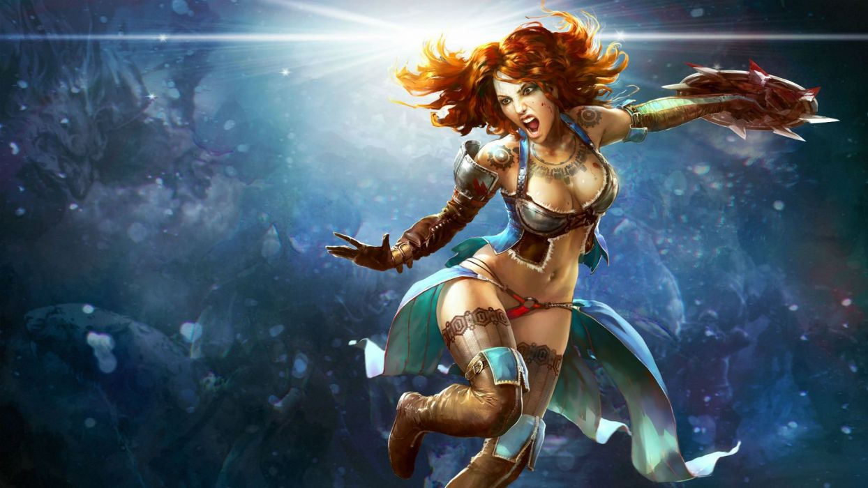 PRIME WORLD fantasy mmo rpg online action fighting adventure arena tower defense strategy 1primew warrior sci-fi poster girl girls sexy babe redhead wallpaper