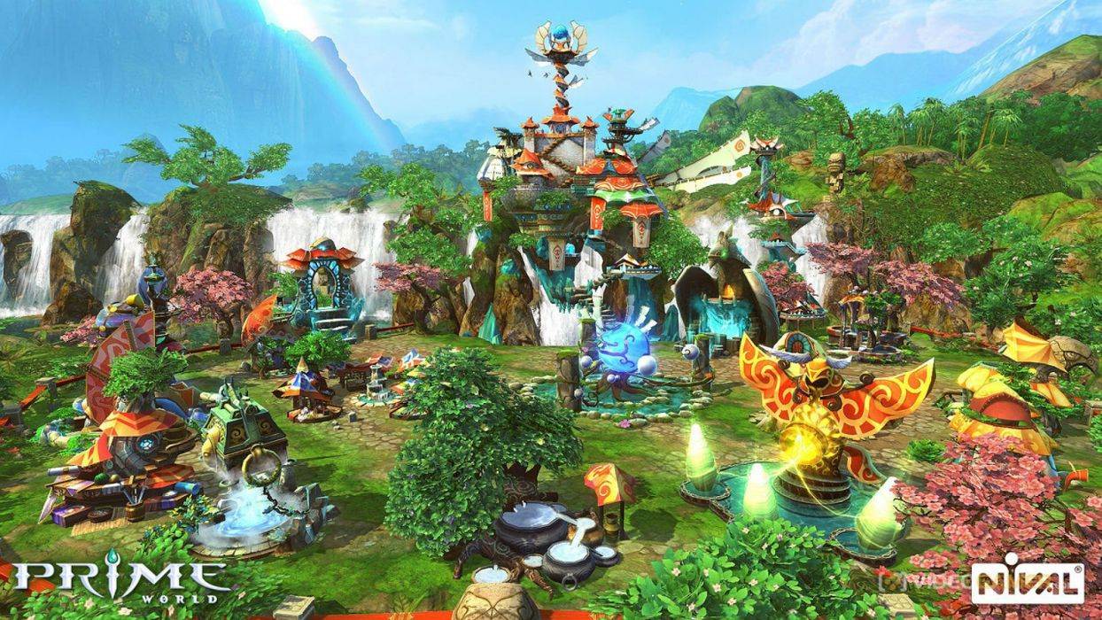 PRIME WORLD fantasy mmo rpg online action fighting adventure arena tower defense strategy 1primew warrior sci-fi poster castle wallpaper