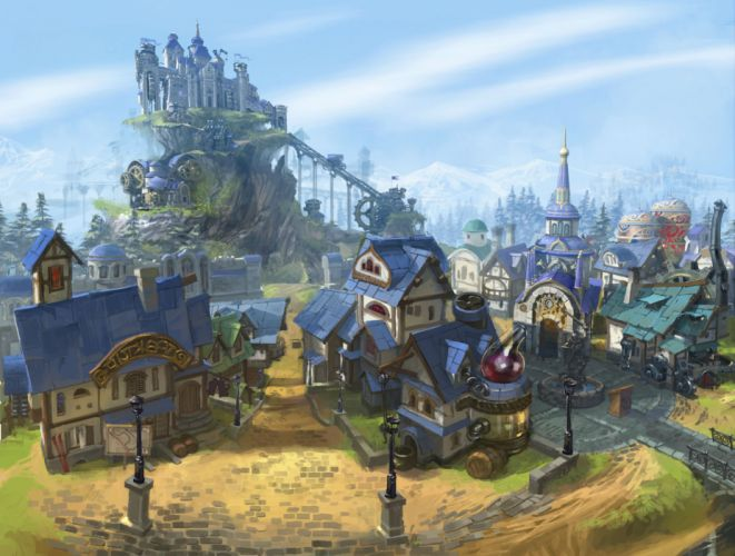 PRIME WORLD fantasy mmo rpg online action fighting adventure arena tower defense strategy 1primew warrior sci-fi poster castle city cities town wallpaper