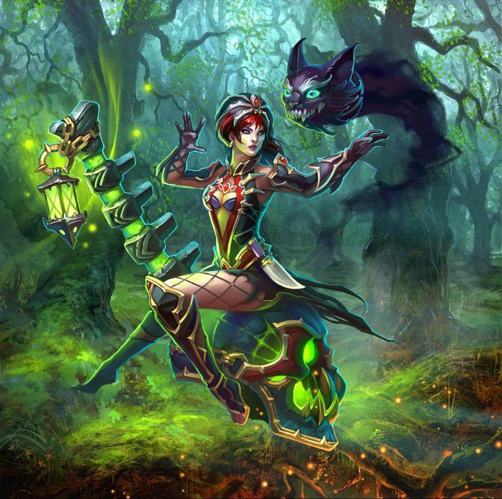 PRIME WORLD fantasy mmo rpg online action fighting adventure arena tower defense strategy 1primew warrior sci-fi poster dark glow magic girl girls skull wallpaper