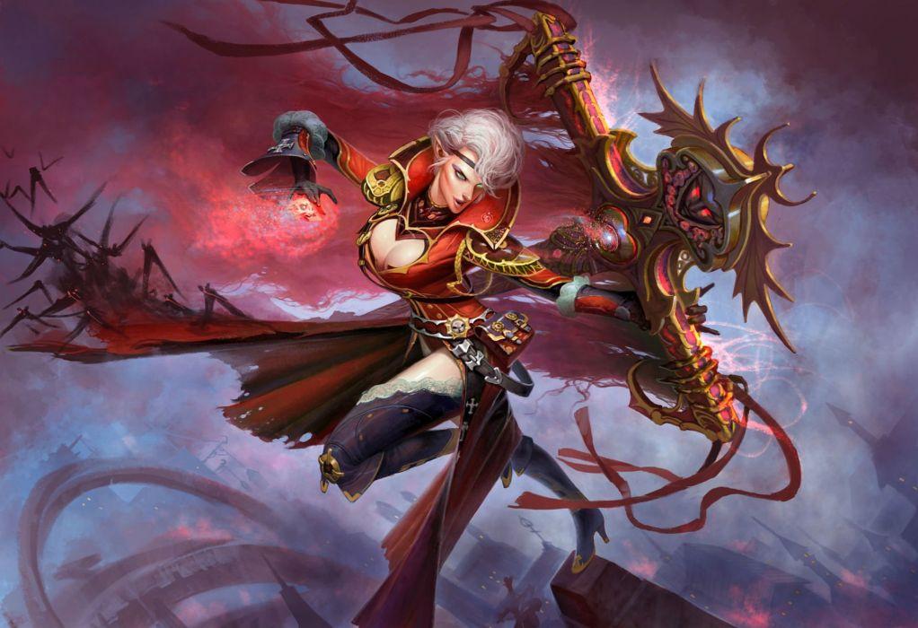 FORSAKEN WORLD Shenmo Online fantasy mmo rpg perfect 1fwso action fighting adventure dark age warrior vampire perfect detail poster girl girls elf elves wallpaper