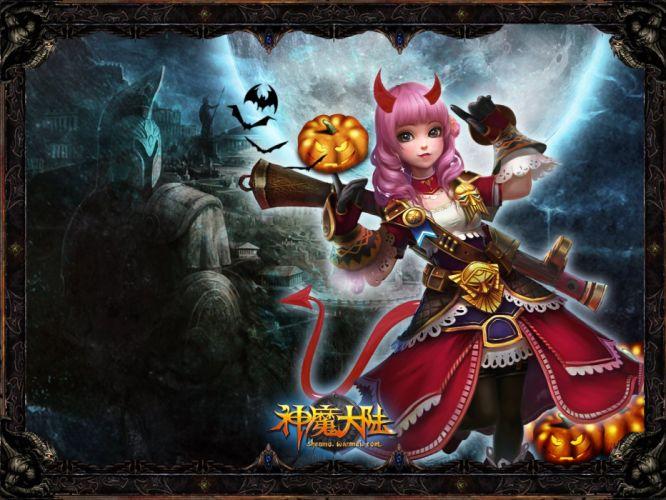 FORSAKEN WORLD Shenmo Online fantasy mmo rpg perfect 1fwso action fighting adventure dark age warrior vampire perfect detail girl girls poster halloween wallpaper