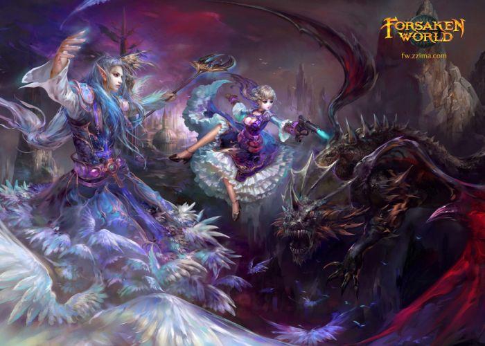 FORSAKEN WORLD Shenmo Online fantasy mmo rpg perfect 1fwso action fighting adventure dark age warrior vampire perfect detail girl girls artwork poster battle wallpaper