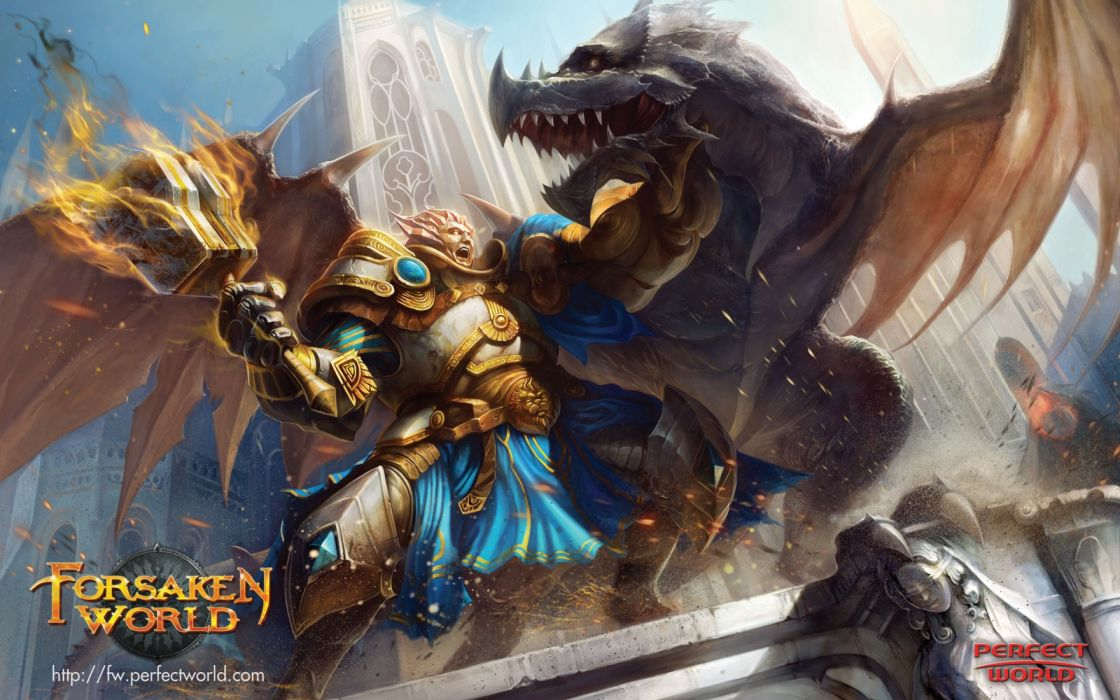 FORSAKEN WORLD Shenmo Online fantasy mmo rpg perfect 1fwso action fighting adventure dark age warrior vampire perfect detail artwork poster dragon battle wallpaper