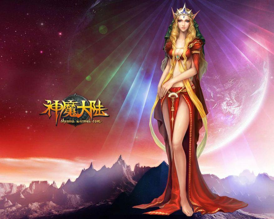 FORSAKEN WORLD Shenmo Online fantasy mmo rpg perfect 1fwso action fighting adventure dark age warrior vampire perfect detail girl girls artwork poster moon wallpaper