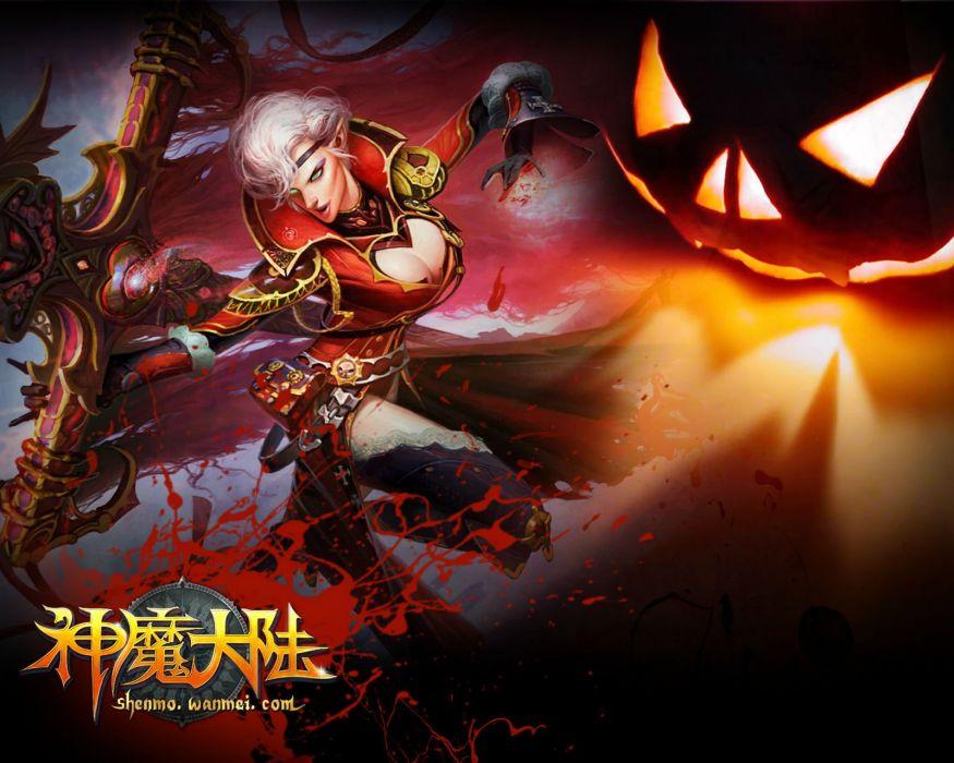 FORSAKEN WORLD Shenmo Online fantasy mmo rpg perfect 1fwso action fighting adventure dark age warrior vampire perfect detail halloween wallpaper