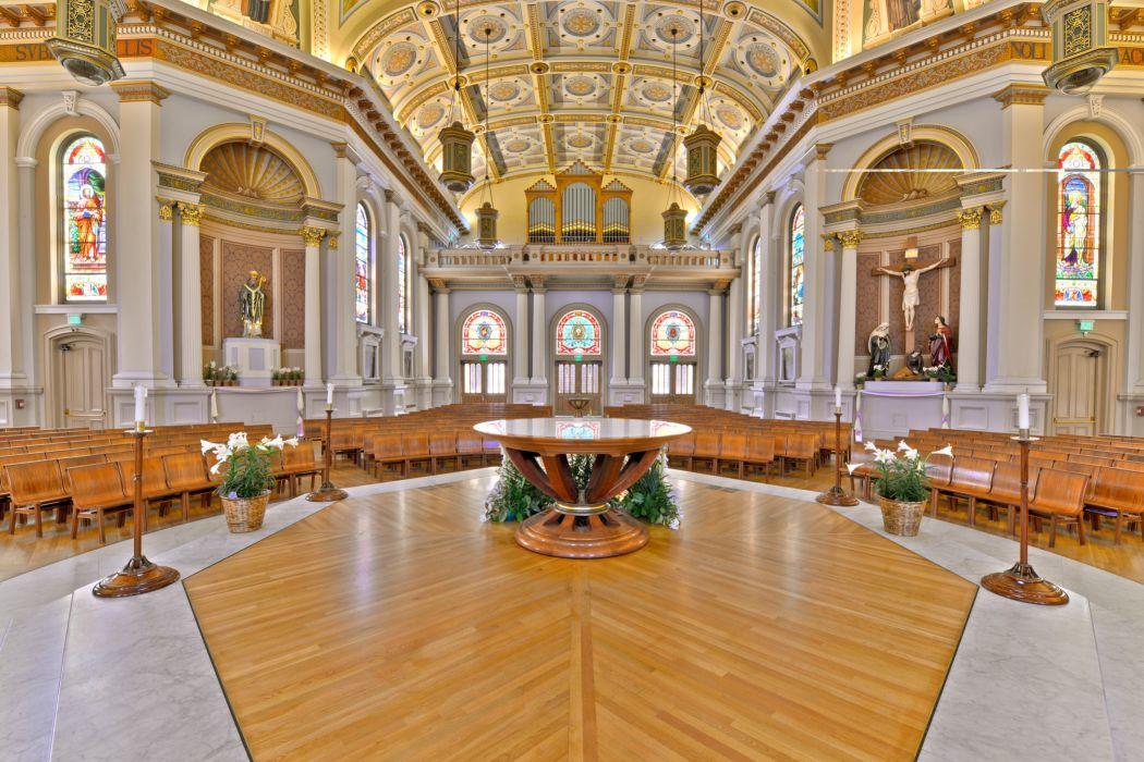 interior iglesia bancos altar cupula wallpaper