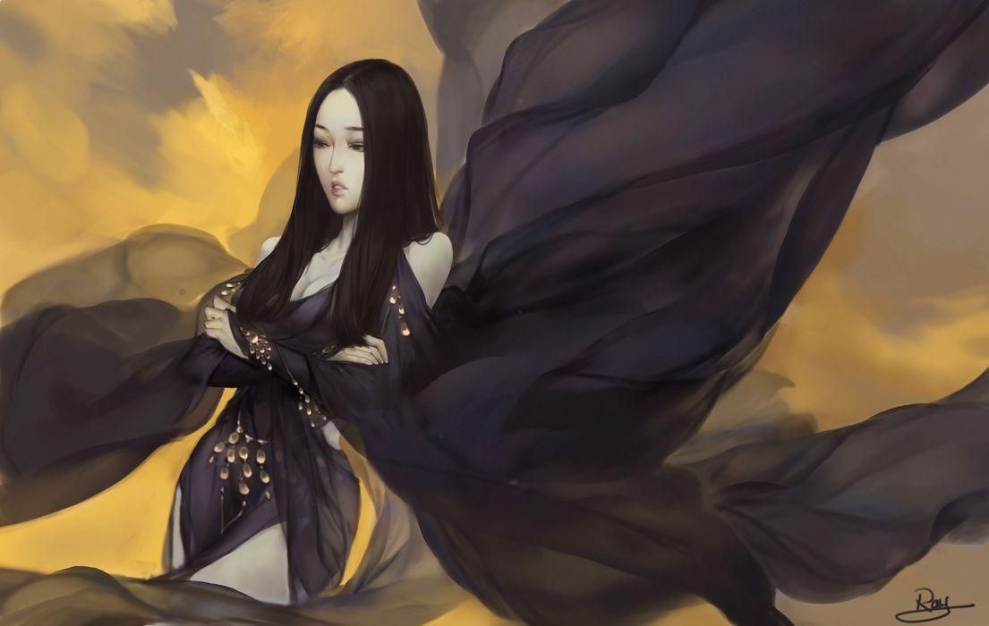 anime fantasy original princess black dress long hair wallpaper