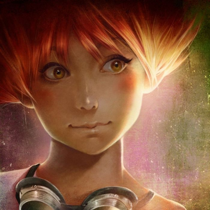 cute face girl fairy orange hair yellow eyes wallpaper