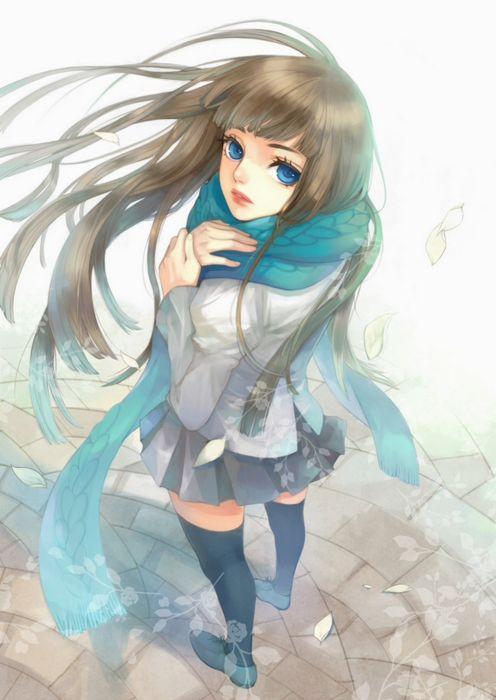 anime girl beautiful blue eyes long hair winter wallpaper