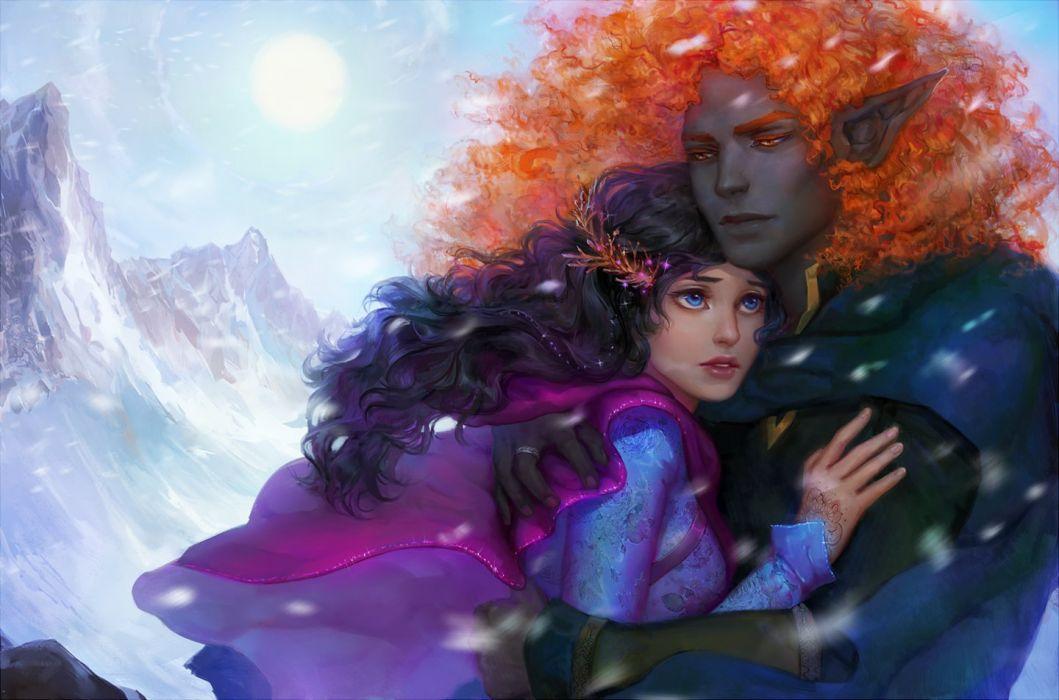original elf love couple red hair girl male blue eyes wallpaper