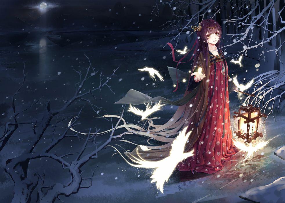 original anime girl magic bird tree snow winter red dress beautiful wallpaper