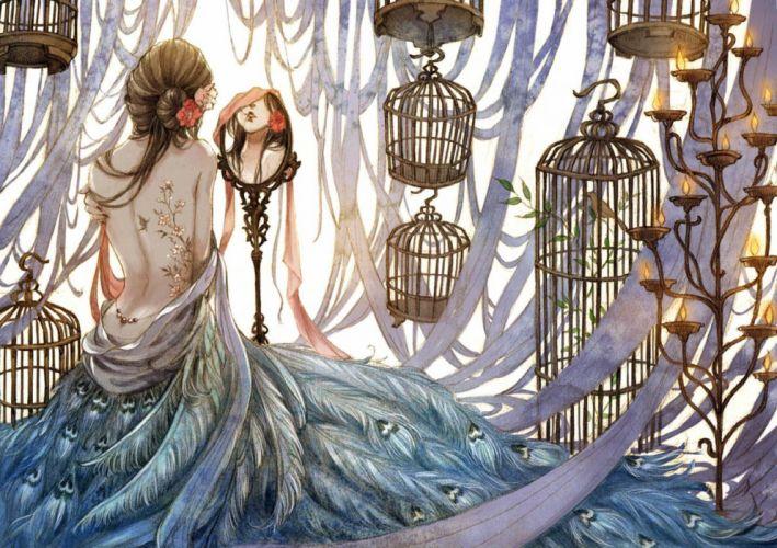 original long hair anime girl dress bird feather flower wallpaper