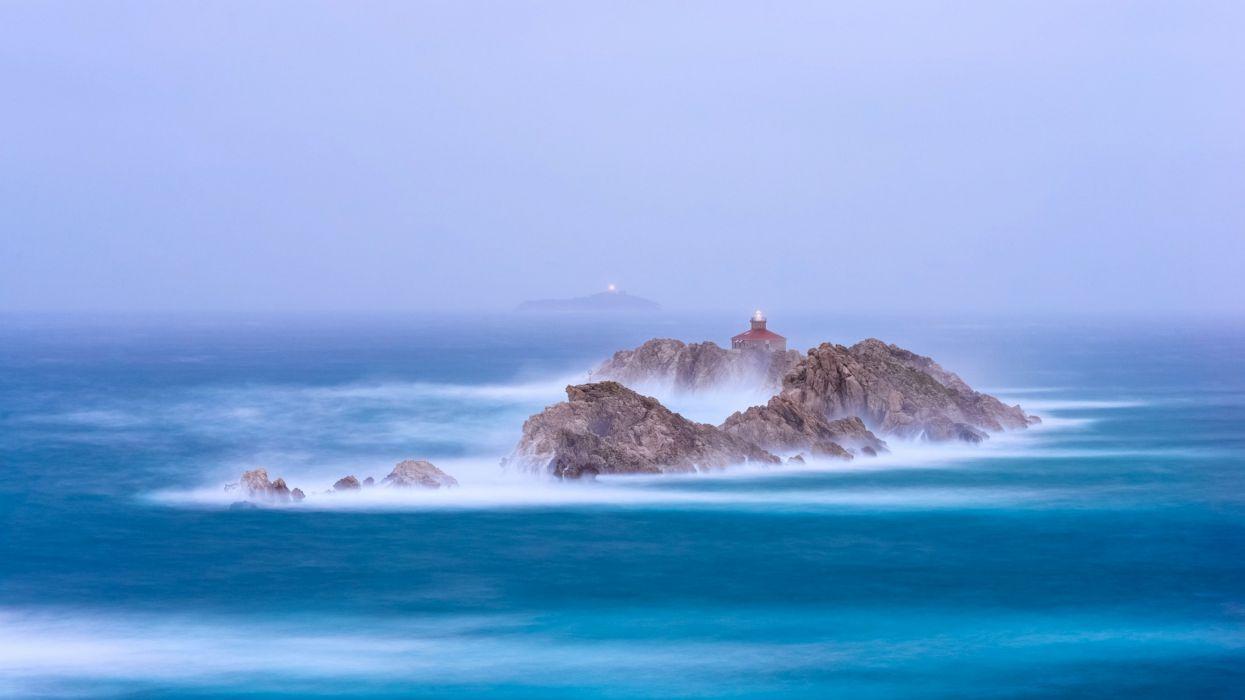landscapes sea waves fog Pacific Islands ocean sky blue Beacons wallpaper