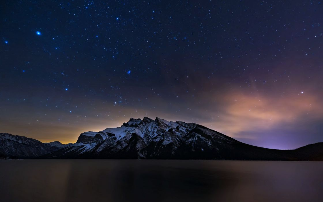 banff alberta canada lakes mountains night stars landscapes clouds sky snow wallpaper