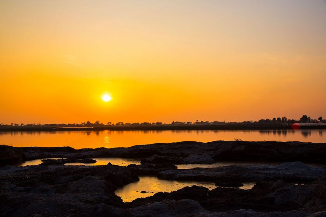 pakistan sunset sky clouds orange beauty nature Ground landscape rivers wallpaper