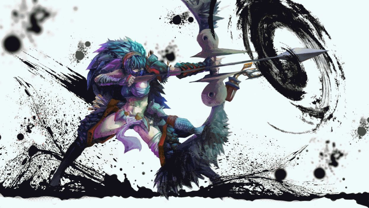 MONSTER HUNTER online mmo rpg fantasy hunting 1mhf action dragon fighting anime warrior dinosaur wallpaper