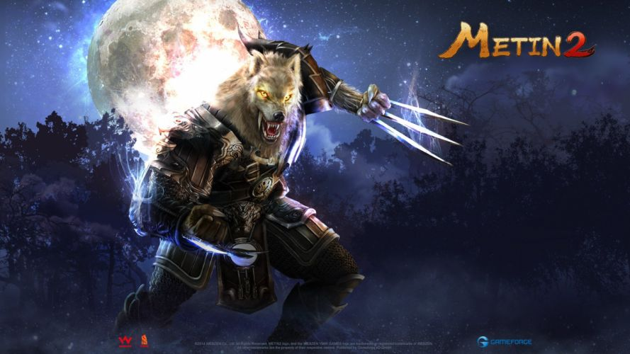 METIN 2 asian fantasy mmo rpg action fighting magic samurai warrior online 1metin ninja anime poster monster creatue werewolf lycan moon wallpaper