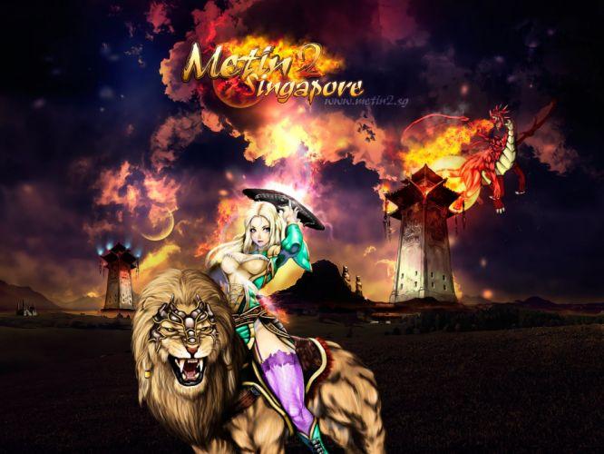 METIN 2 asian fantasy mmo rpg action fighting magic samurai warrior online 1metin ninja anime poster lion wallpaper