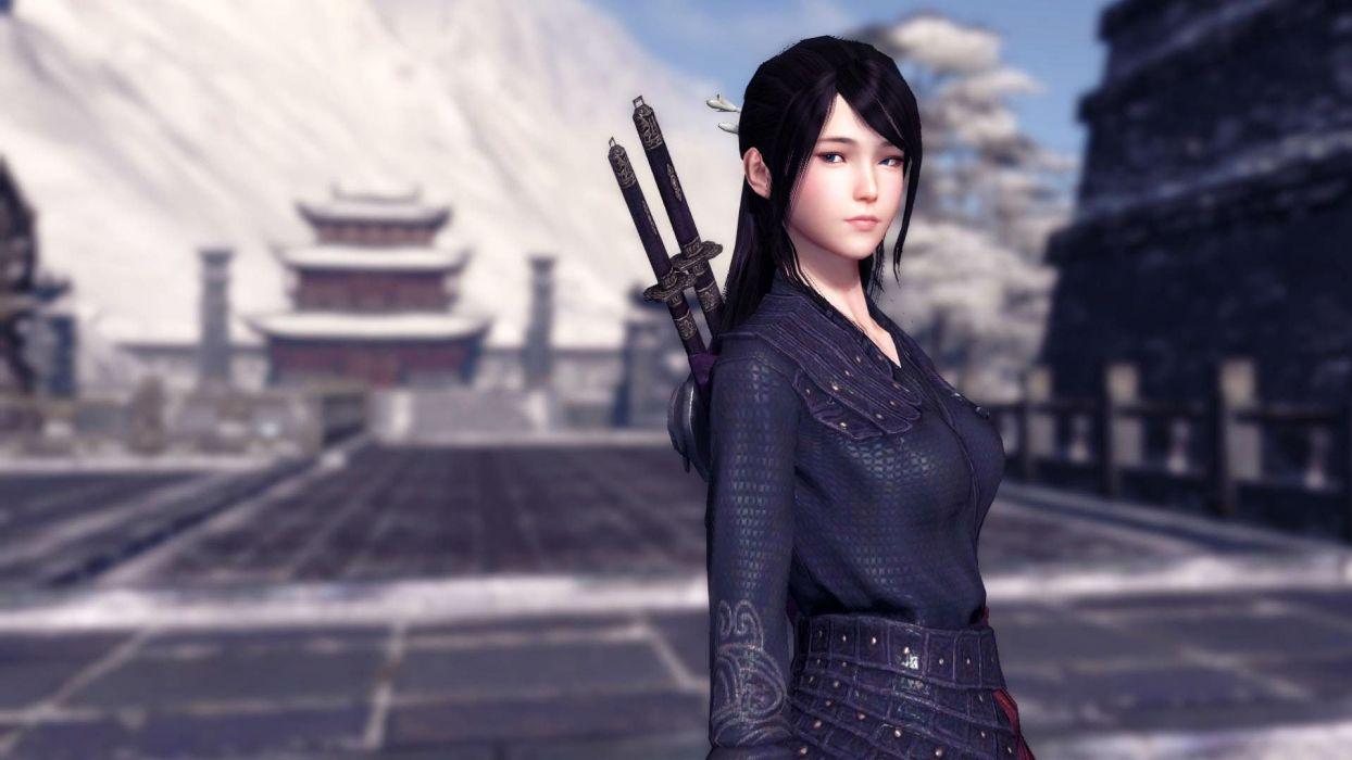 MOONLIGHT BLADE online asian fantasy mmo rpg action fighting adventure perfect kung 1moonb sword katana samurai warrior detail tencent girl girls wallpaper