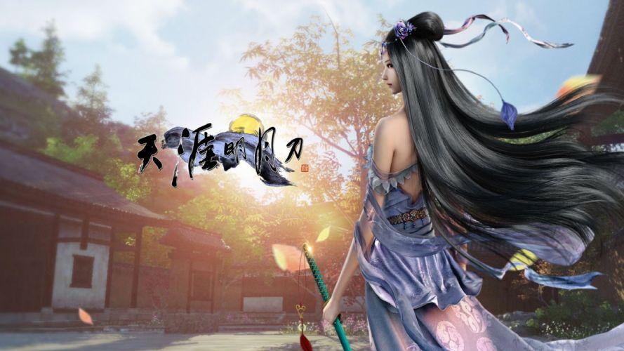 MOONLIGHT BLADE online asian fantasy mmo rpg action fighting adventure perfect kung 1moonb sword katana samurai warrior detail tencent poster girl girls wallpaper
