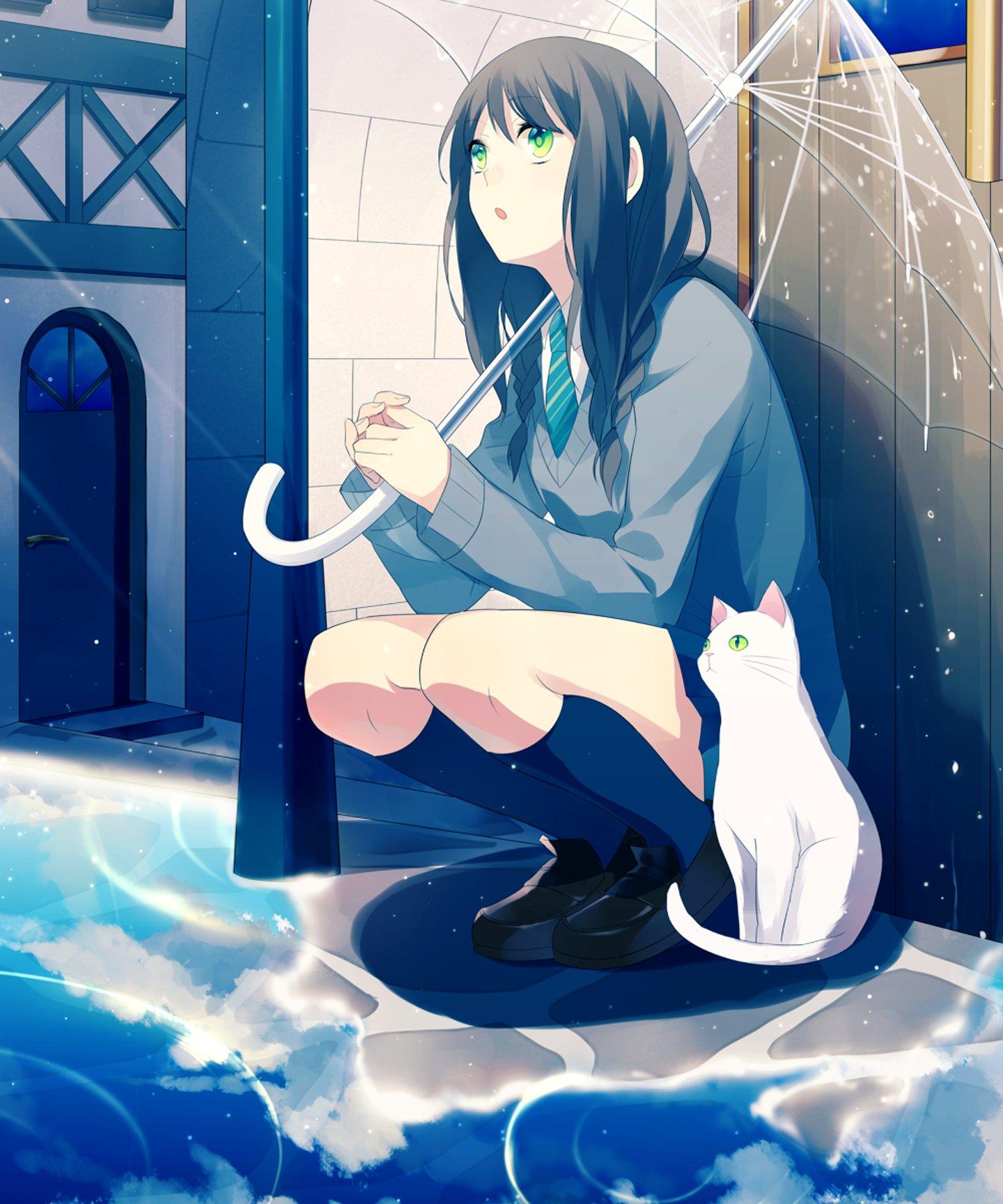 Original rain anime girl cat umbrella school uniform ...