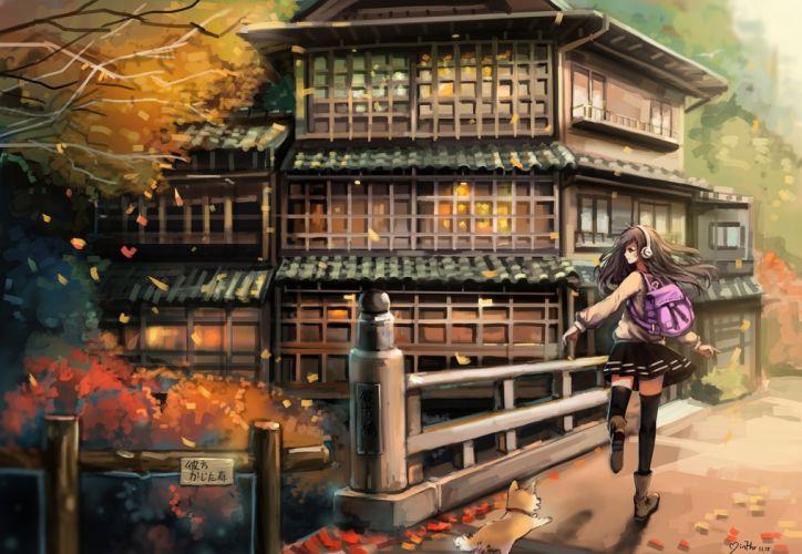 original anime girl school uniform autumn tree mood dog wallpaper