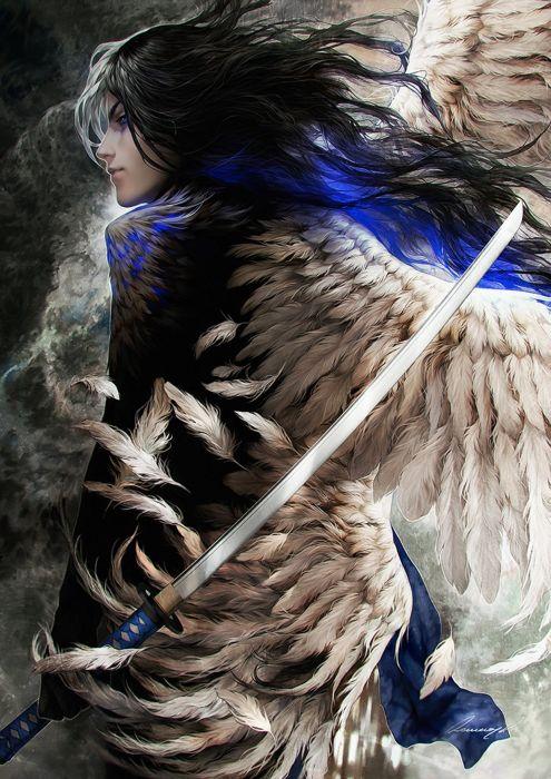 fantasy angel blue eyes sword male wings wallpaper