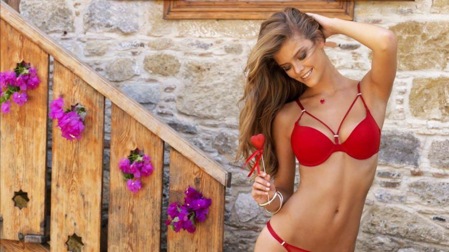 SENSUALITY - Nina Agdal girl model brunette belley neval ladder heart wallpaper