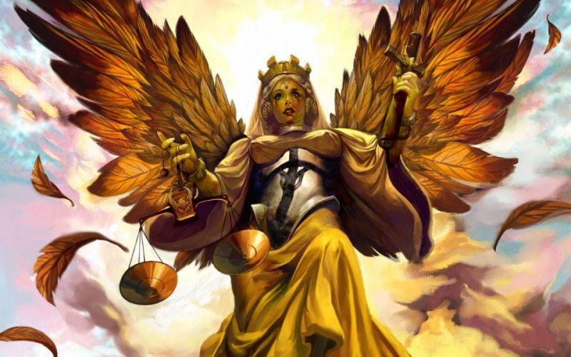 ART - fantasy angel crucifix balance justice wallpaper