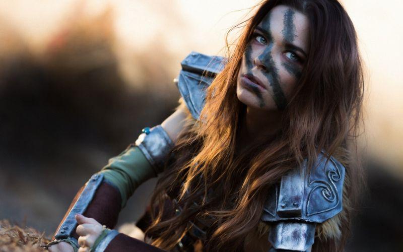 COSPLAY - Elder Scrolls V game girl redheads freckles warrior daggers face wallpaper
