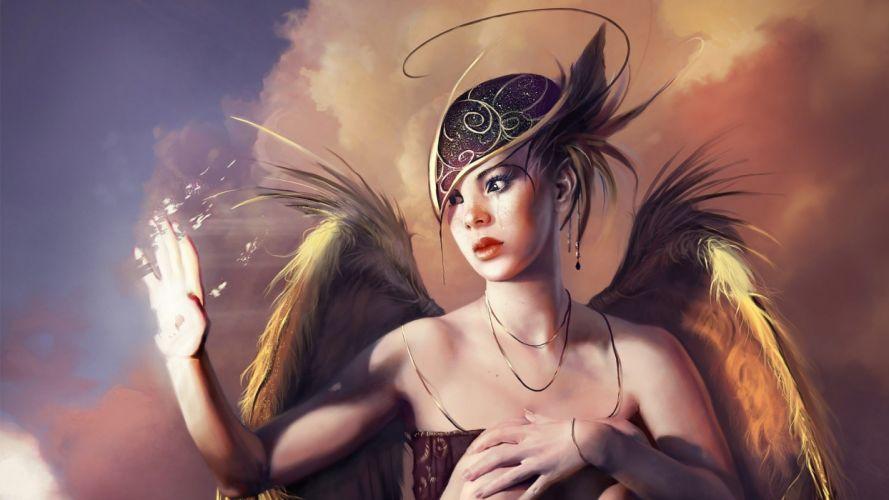 ART - fantasy girl wings disintegration wallpaper