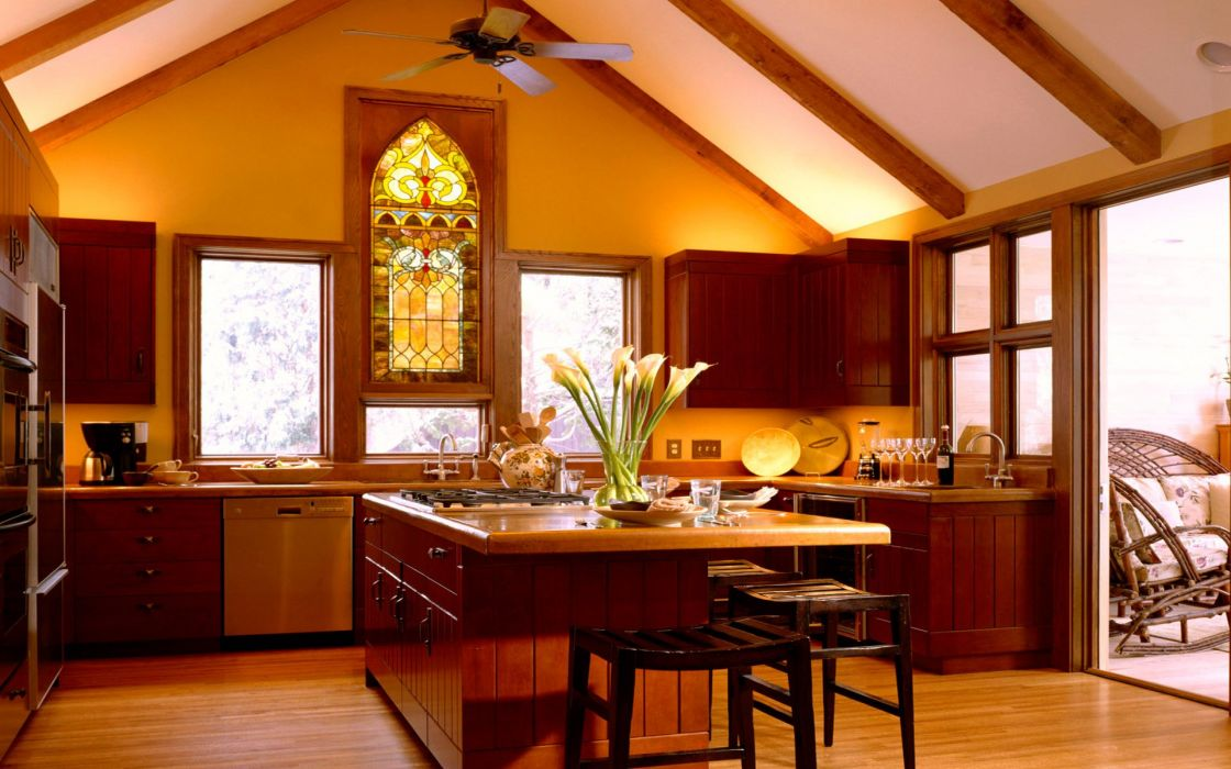 interior madera cocina muebles wallpaper